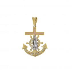 14K Tri Color Gold Virgin Mary Mariners Cross Anchor Pendant