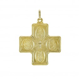 14K Yellow Gold Four Way Cross Medal Pendant