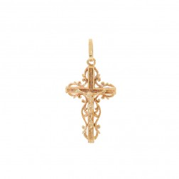 14K Yellow Gold Jesus Crucifix Cross Pendant
