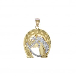 14K Two Tone Gold Horse Head & Horseshoe Lucky Charm