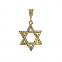 Star Of David Diamond Cut Pendant Charm 10K Yellow Gold
