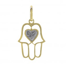 14K Two Tone Gold Hamsa With Heart Pendant