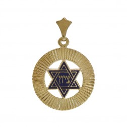 Blue Enamel Star of David Filigree Zion Pendant 14K Yellow Gold