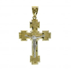 Crucifix Cross Pendant 14K Two Tone Gold 44mm