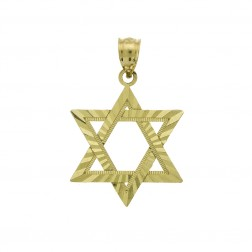 14K Yellow Gold Carved Magen David The Star of David