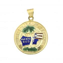 Puerto Rico Island Palm Tree Vintage Medal Pendant 14K Yellow Gold