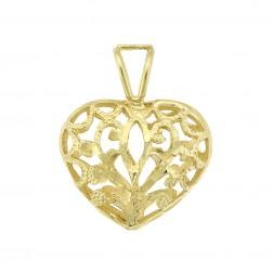 14K Yellow Gold Diamond Cut Heart Pendant