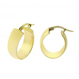 14K Yellow Gold Elegant Oval Dangle Hoop Earrings 2.7gram