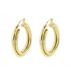 14K Yellow Gold Three Rings Dangle Hoop Earrings 5.9gram