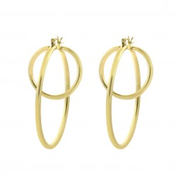 14K Yellow Gold Modern Oval Dangle Long Hoop Earrings 6.2gram