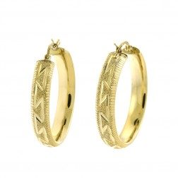 14K Yellow Gold Diamond Cut Round Shape Hoop Earrings 6.5gram