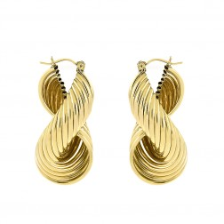 10K Yellow Gold Infinity Modern Twisted Dangle Hoop Earrings 13.8gram