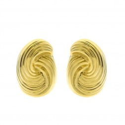 14K Yellow Gold Modern Twisted Omega Back Earrings Italy 6.9gram