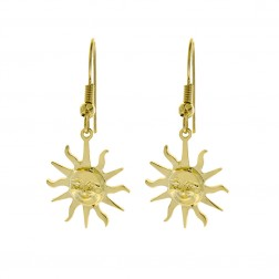 14K Yellow Gold Sun Shaped Dangle Earrings 3.4gram