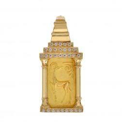 0.60 Carat Round Diamond Fine Gold Ingot Pendant 24K & 18K Yellow Gold
