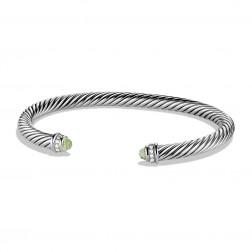 David Yurman Sterling Silver Cable Classics Bracelet Prasiolite & Diamond
