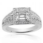 0.85 Carat Round Diamond Antique Inspired Halo Engagement Mounting 18K White Gold