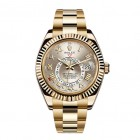Rolex Sky-Dweller 18K Yellow Gold Watch Silver Roman Dial 326938