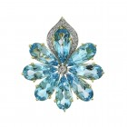20.0 CTW Blue Topaz and 0.20 CTW Round Cut Diamond Flower Brooch 14K Yellow Gold