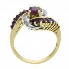 0.90 Carat Carat Ruby and Diamond Accent Vintage Ring 14K Yellow Gold