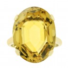 11.00 Carat Citrine Solitaire Vintage Hand Made Ring in 12K Yellow Gold
