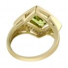 2.00 Carat Rhombus Shape Peridot and 0.30 Carat Diamond Vintage Ring 14K Gold