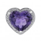 5.00 Carat Amethyst and 0.75 Carat Diamond Heart Shaped Ring 14K White Gold