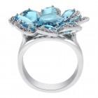 6.75 CTW Blue Topaz and 0.75 CTW Round Cut Diamond Flower Ring 14K White Gold