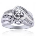 0.70 Carat F-I1 Natural Round Diamond Engagement Ring 14k White Gold