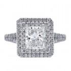 2.03ct Princess Cut Diamond Engagement Ring Double Halo Split Shank Platinum
