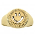 14K Yellow Gold Smile Emoji Ring Size 7.75