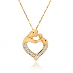 0.08 Carat Round Diamond Mother & Child Heart Pendant on Cable Chain 10K Yellow Gold