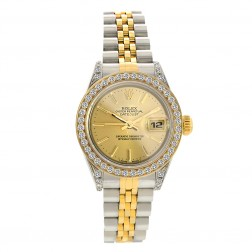 Rolex Lady Datejust 26 Steel & 18K Yellow Gold Watch Custom Diamond Bezel 69173