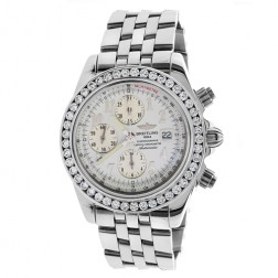 Breitling Crosswinds Racer Chronograph Stainless Steel Watch 7.50 Carat Custom Diamond Bezel A13355