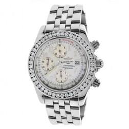 Breitling Crosswinds Racer Chronograph Stainless Steel Watch 7.50 Carat Custom Diamond Bezel A13355