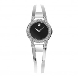 Movado Amorosa Stainless Steel Ladies Watch Custom Set Diamonds 0604759