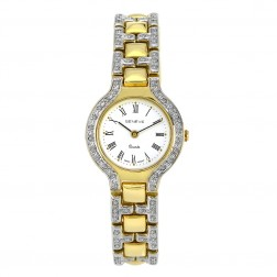 Genéve 14K Yellow Gold with Pave Set Diamonds Ladies Watch