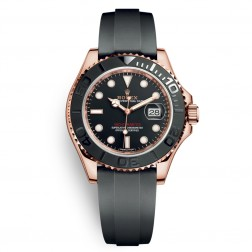 Rolex Yacht-Master 18K Everose Gold Watch on Rubber Strap 116655
