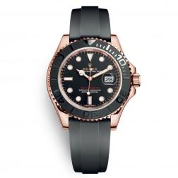 Rolex Yacht-Master 18K Everose Gold Watch on Rubber Strap 116655