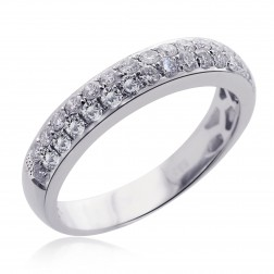 0.50 Carat G-VS2 Micro Pave Double Row Round Brilliant Diamond Band 14k White Gold