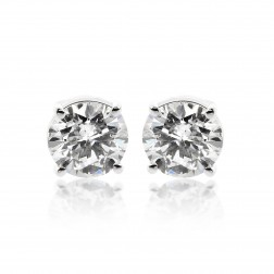 1.45 Carat Round Brilliant Cut Diamond Solitaire Stud Earrings 14K White Gold