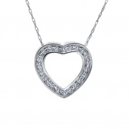 0.25 Carat Round Diamond Heart Slider Pendant on Cable Chain 14K White Gold