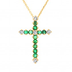 0.75 Carat Round Emerald & Diamond Cross Necklace 14K Yellow Gold