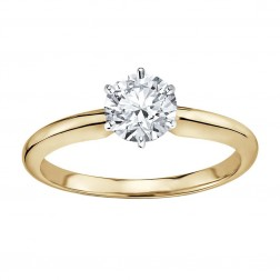 1.01 Carat GIA Certified Round Diamond Solitaire Engagement Ring 14K Yellow Gold