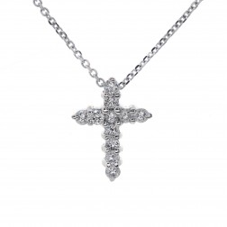 0.40 Carat Round Diamond Cross Pendant 14K White Gold