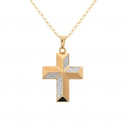 0.10 Carat Pavé Round Diamond Faceted Cross Pendant 10K Yellow Gold