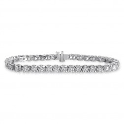 9.85 Carat Round Brilliant Cut Diamond Tennis Bracelet 14K White Gold