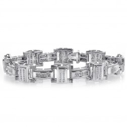 3.65 Carat Mens Princess & Round Cut Diamond Bracelet 14K White Gold