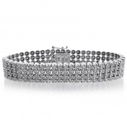 8.15 Carat Mens Round Cut Diamond Cuff Bracelet 14K White Gold