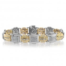 3.98 Carat Mens Channel & Bezel Set Round Diamond Bracelet 14K Two Tone Gold